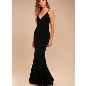 Lulu's Infinite Glory Black Maxi Dress Small